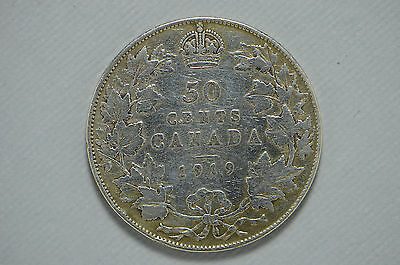 1913 Canada Siver Fifty Cent Cleaned (bb746)