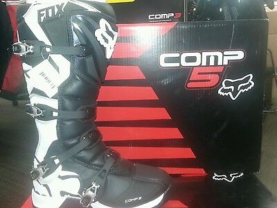 2017 FOX COMP 5 MEN'S BOOTS BLACK/WHITE **Size 9 **