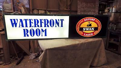 original 6' light box swan export lager,waterfront room hotel sign,works,1970's