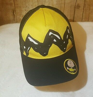 Peanuts Charlie Brown Mesh Trucker Hat SnapBack Baseball Cap Yellow EUC w patch!