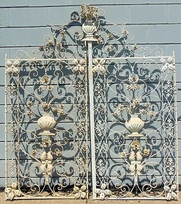 Amazing Antique Vtg IRON Gates Garden Floral Urn French Chateau New Orleans CHIC