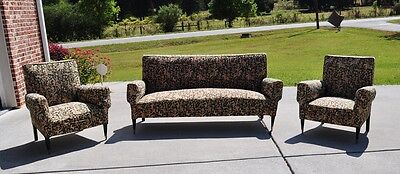 Beautiful Set of Authentic Mid Century Modern Sofa & Two Club Chairs, 1950's