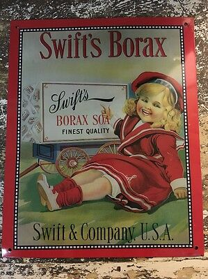 Swift's Borax Laundry Soap Advertising Tin Sign Vintage Reproduction