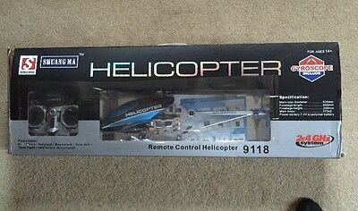 Blue RC Helicopter, Shuang Ma 2.4GHz, remote control and battery Brand New!