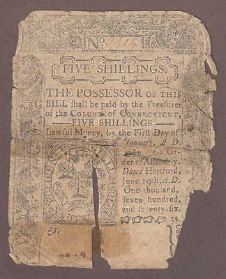 Connecticut June 19, 1776 Colonial Bank Note 5 Shillings Hartford