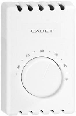 Cadet, White, Single Pole, 2 Wire, Wall Mount Thermostat