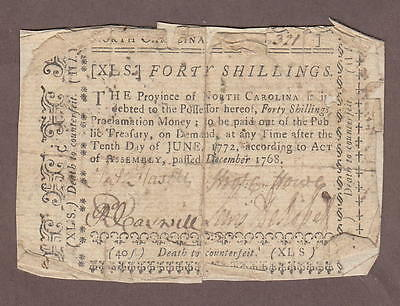 North Carolina December 1768 Colonial Bank Note 40 Shillings