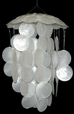Capiz Shell Wind Chime Natural Large White Seashells Nautical Coastal Decor