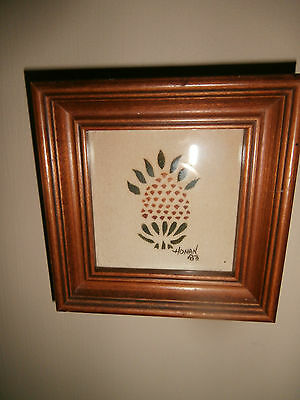 Vintage 1983 Honan Theorem Painting~Early American Decor Art~Primitive~Pineapple