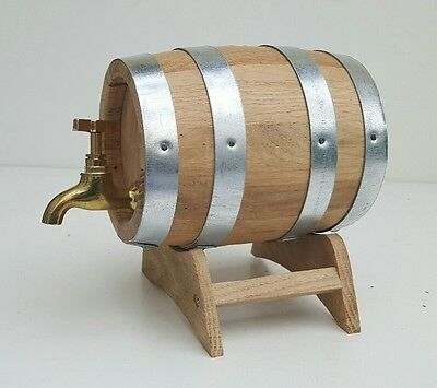 1 L Oak Barrel toasted Oak Wood Cask with metal  tap & pedestal for aging ,