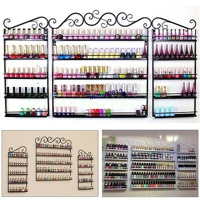 5 Tier Metal Wall Mounted Nail Polish Rack Organizer Display Holder Shelf UK