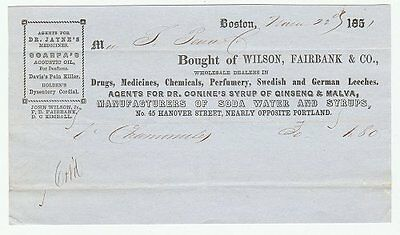 1851 wholesale druggist's billhead: leeches, Dr. Conine's Syrup of ginseng &c