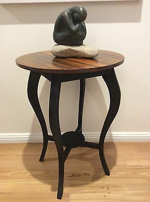 Deco Vintage Circular Timber Side Table/occasional Table