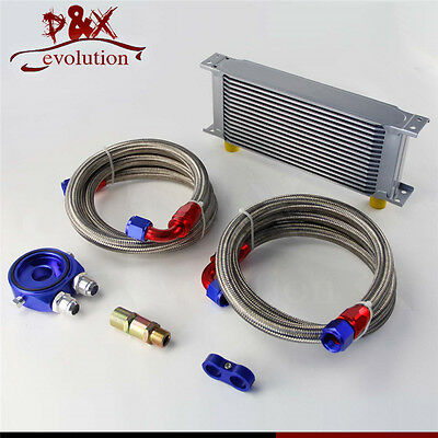 16 Row AN10 Universal Engine Oil Cooler w/ Oil Lines + Filter Adapter Blue