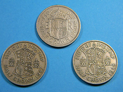Lot of 3 Half Crown Coins