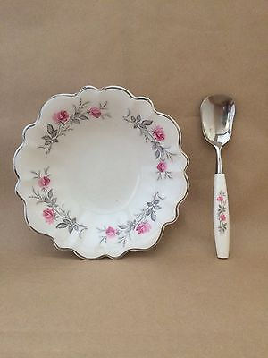 Vintage Myott's England Ironstone Jam/Pin Dish with spoon - Royal Bride