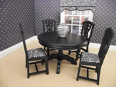 Dolls House Miniature 1:12 Scale furniture dining table and high back chairs