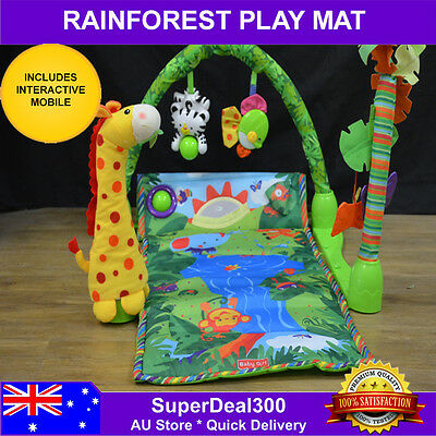 Baby, Rainforest Play, Activity, Exercise, Learning Mat With Removable Toys