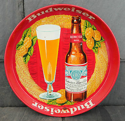 "HTF 1950's Budweiser Lager ""Preferred Everywhere"" Beer Advertising Serving Tray"