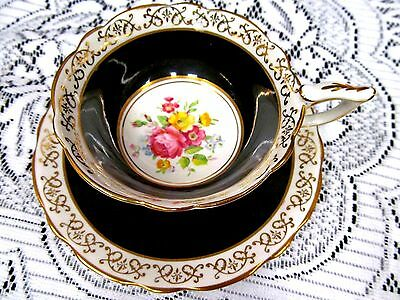 Royal Stafford Tea Cup And Saucer Black & Gold Pink Roses Painted Wide Teacup