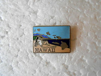 Vintage State of Hawaii Girl on a Beach Enamel Souvenir Pin