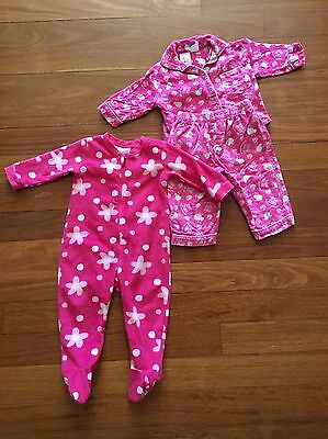 BULK BUY 2 x Baby Girl Sleepwear Sz 0 Pyjama Set & Onesie