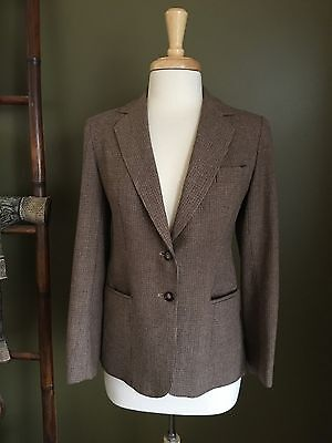 Evan Picone Women's Blazer Vintage 2 Button Brown Lined Sz S/M Excellent