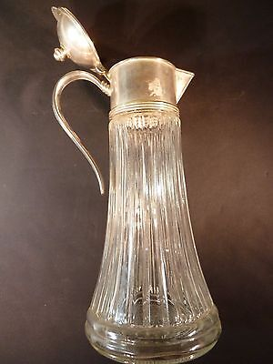 """Crystal Glass Water Pitcher with Silver Plate Top Made In Italy EP Zinc 13"""" High"""