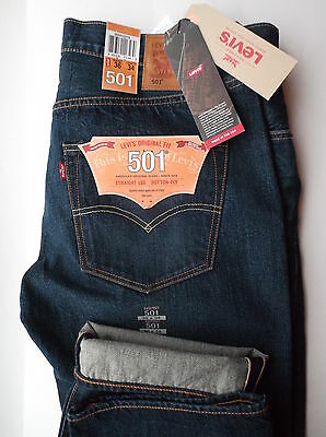 Levi's 501 Made In Usa W38 L32 Original Fit Selvedge Jeans Cone Mills Denim New