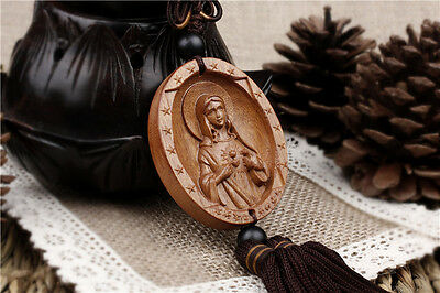Wood Carving Madonna Virgin Mary Goddess Mother of God Statue Car Pendant Amulet