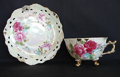 Three Footed Cup With Saucer Made In Japan