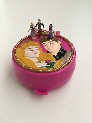 POLLY POCKET Disney 1996 Sleeping Beauty Compact **COMPLETE w/ RARE CRADLE**