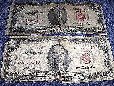 Lot Of Two 1953 Two Dollar Red Seal Notes