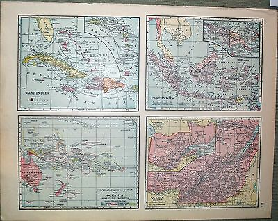 1911 CRAM map of EAST WEST INDIES QUEBEC OCEANIA Atlas of the World