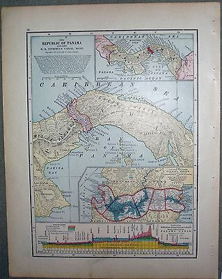 1911 CRAM map of PROPOSED PANAMA CANAL ZONE Ideal Reference Atlas of the World