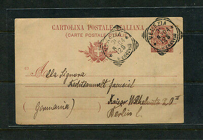 Italy 1904 Postal Card Postcard Ppe Stamp Cover To Germany