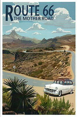 Route 66, The Mother Road, Hairpin, Older Car, Mountain etc. --- Modern Postcard