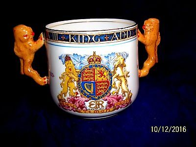 1937 PARAGON CORONATION LOVING CUP HM KING EDWARD VIII with  BROWN LION HANDLES
