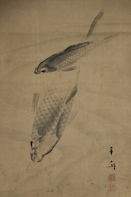 """JAPANESE HANGING SCROLL ART Painting """"Carps"""" Asian antique  #E4028"""