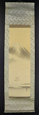 """JAPANESE HANGING SCROLL ART Painting Scnery """"Mt. Fuji"""" Asian antique  #E4015"""