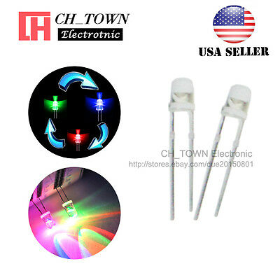100pcs 3mm Transparent Slow Rainbow Flash Water Clear RGB flashing LED Diodes