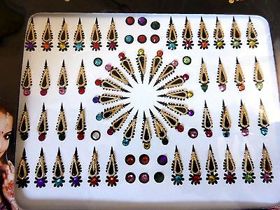 1 x Pack Indian Party Bindi Stick On Jewellery Bollywood Body Art Crystal