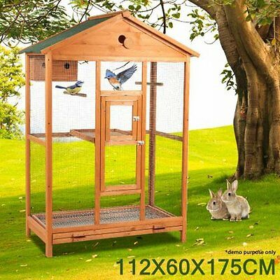 NEW Lockable Large Wooden Double Perch Bird Parrot Cage, For Indoor/Outdoor Use