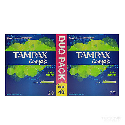 New Tampax Compak Duo Application Tampon Super 2 x 20