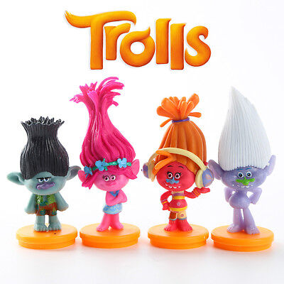 4pcs DreamWorks Trolls PVC Action Figures Cake Topper Decor Figurines Kid Toy