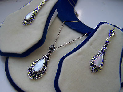 "Gorgeous Vintage Sterling Silver Marcasite Mop Set Pendant 20"" Necklace Earrings"