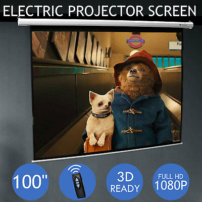 100 Inch Projector Screen Home Theatre HD TV Electric Motorised Projection 3D