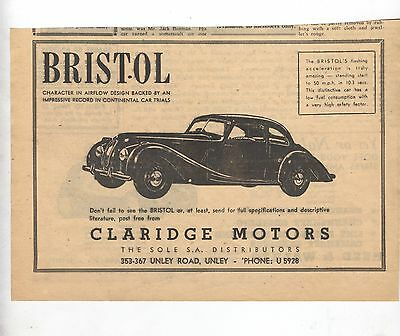 Bristol Saloon Original Advertisement removed from a 1950 Magazine a