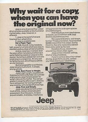 Jeep Original Advertisement removed from a Magazine
