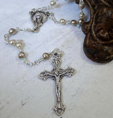 Gorgeous Pearl and Silver ball ROSARY - Silver Crucifix - Cross - Mary - 16in DC